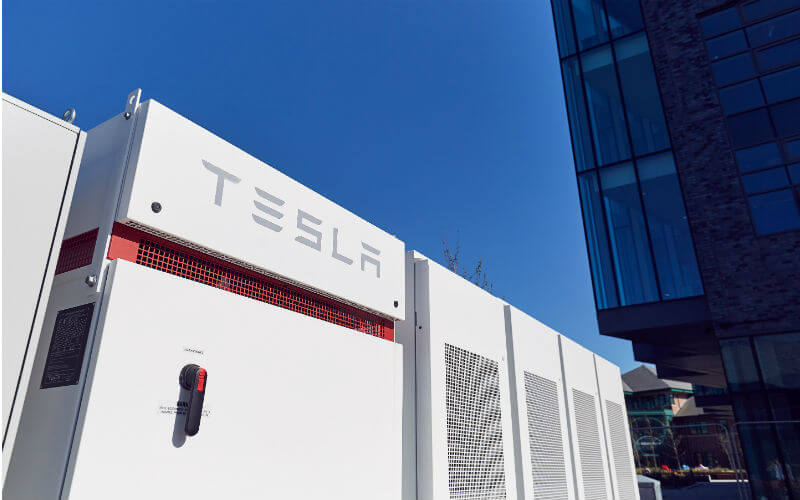 A Tesla Powerpack system at the Bright Building, Manchester.