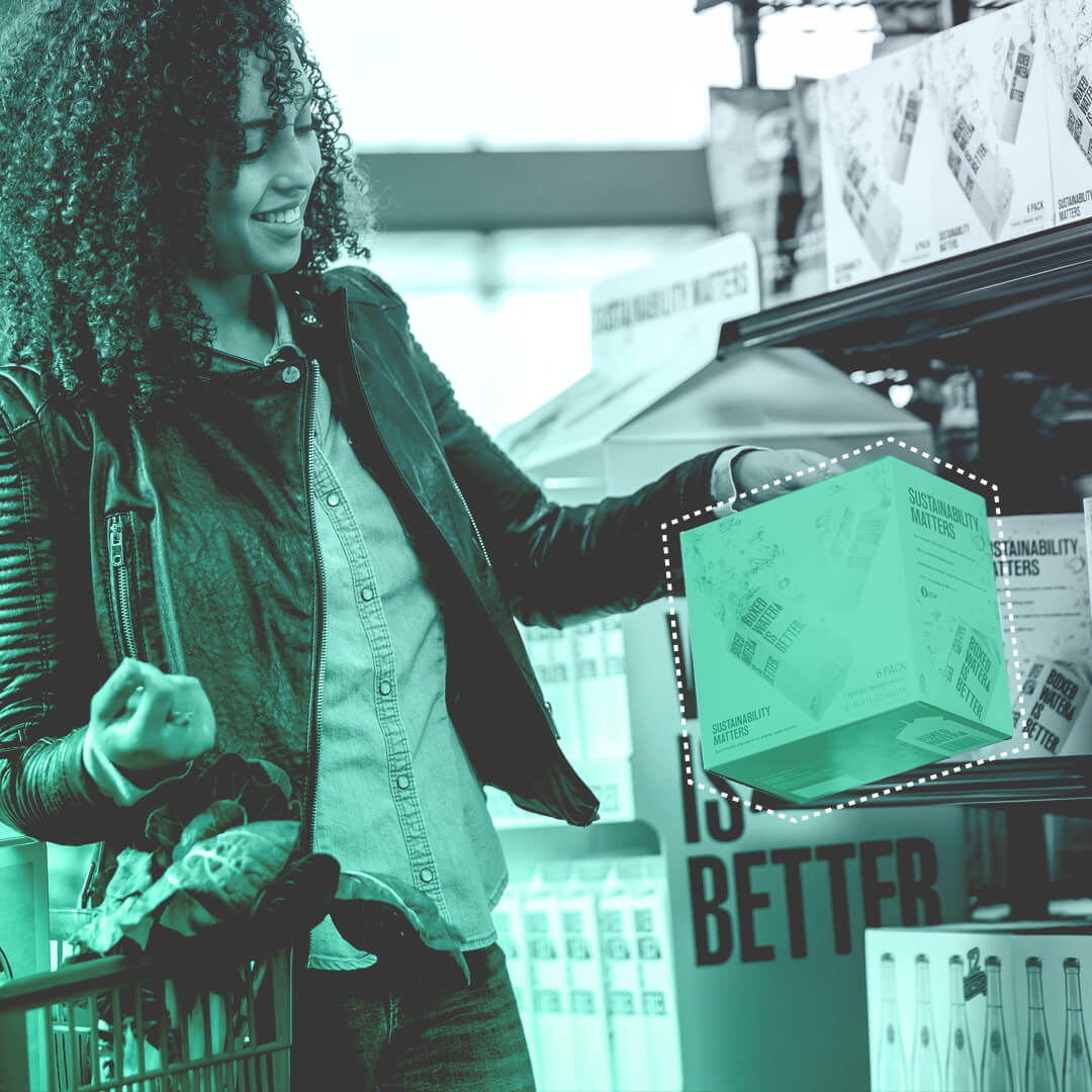 Product detection of a women picking up a box